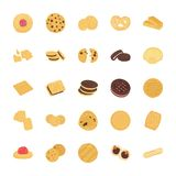 Icone piane di vettore dei biscotti messe Fotografia Stock