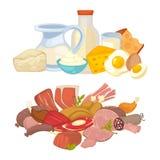 Icone piane di vettore dei prodotti lattiero-caseari della carne dell'alimento e della latteria messe illustrazione vettoriale