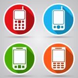 Icone piane di vettore dei telefoni cellulari Immagini Stock