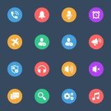 Icone piane di vettore delle caratteristiche di Smartphone sull'insieme del substrato di colore di 16 Immagini Stock Libere da Diritti