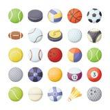 Icone piane di vettore delle palle di sport messe Immagini Stock Libere da Diritti