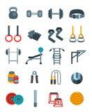 Icone piane di vettore di sollevamento pesi messe Immagine Stock