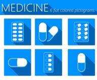 Icone piane di vettore medico delle pillole messe Fotografia Stock