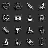 Icone piane di vettore medico messe illustrazione di stock