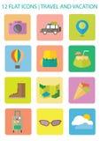 Icone piane di viaggio Immagine Stock