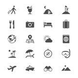 Icone piane di viaggio Fotografie Stock Libere da Diritti