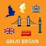 Icone piane di viaggio della Gran Bretagna Immagini Stock