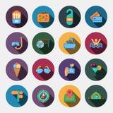 16 icone piane di viaggio gratis Fotografia Stock Libera da Diritti
