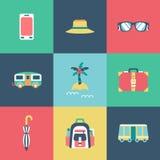 Icone piane di viaggio messe Fotografia Stock