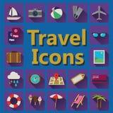 Icone piane di viaggio messe Fotografie Stock