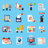 Icone piane di voto e di elezioni messe royalty illustrazione gratis