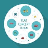 Icone piane elementi automobilistici ed altro di lusso dell'auto, del camion, di vettore L'insieme dei simboli piani automatici d Immagini Stock