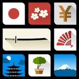 Icone piane giapponesi Fotografia Stock Libera da Diritti