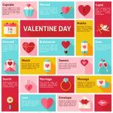 Icone piane Infographic Valentine Day Concept di vettore di progettazione Fotografia Stock