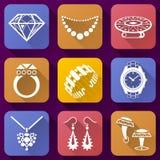 Icone piane messe degli elementi dei gioielli Fotografia Stock Libera da Diritti