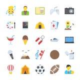 Icone piane messe di attività illustrazione di stock