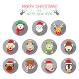 Icone piane messe: : Natale, Santa & animali Fotografia Stock