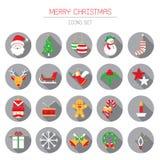 Icone piane messe: Oggetti di Natale Fotografia Stock