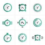 Icone piane messe, progettazione dell'orologio marcatempo dell'icona di vettore Immagini Stock Libere da Diritti