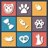 Icone piane messe, vettore del gatto dell'animale domestico Immagine Stock
