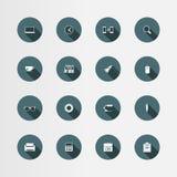 16 icone piane messe, vettore dell'ufficio Fotografia Stock
