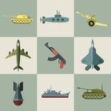 Icone piane militari dell'armamento e dell'attrezzatura illustrazione vettoriale