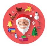 Icone piane moderne del Babbo Natale e del giorno di Natale Fotografia Stock Libera da Diritti