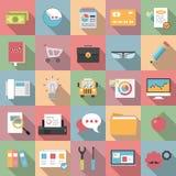 Icone piane moderne di affari con stile lungo dell'ombra Immagine Stock