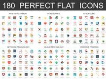 180 icone piane moderne hanno messo dello sviluppo di web, i video giochi, 3d che modella, la tecnologia della nuvola della rete, Immagine Stock