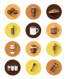 Icone piane moderne messe di caffè Fotografie Stock