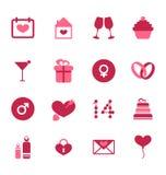 Icone piane moderne per il giorno di biglietti di S. Valentino, elementi di progettazione, isolati Fotografia Stock Libera da Diritti
