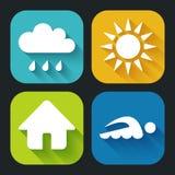 Icone piane moderne per le applicazioni del cellulare e di web Fotografie Stock Libere da Diritti