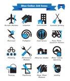 Icone piane nere e blu di lavoro di collare blu - Fotografia Stock Libera da Diritti