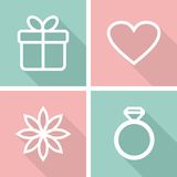 Icone piane per il giorno di biglietti di S. Valentino o la progettazione di nozze Fotografia Stock Libera da Diritti