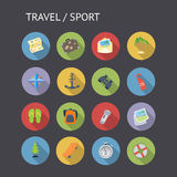 Icone piane per il viaggio e lo sport Immagini Stock Libere da Diritti
