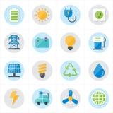 Icone piane per l'illustrazione di vettore delle icone dell'ambiente e delle icone di ecologia Fotografie Stock
