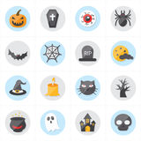 Icone piane per l'illustrazione di vettore delle icone di Halloween Fotografie Stock Libere da Diritti