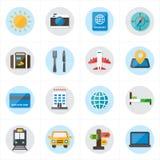 Icone piane per l'illustrazione di vettore delle icone di viaggio e delle icone di trasporto Fotografie Stock Libere da Diritti