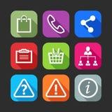 Icone piane per le applicazioni del cellulare e di web Fotografia Stock Libera da Diritti