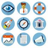 Icone piane per le applicazioni del cellulare e di web Fotografie Stock