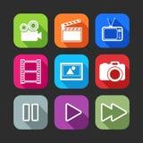 Icone piane per le applicazioni del cellulare e di web con gli oggetti creativi di industria Fotografie Stock Libere da Diritti