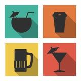 Icone piane per le bevande Fotografia Stock