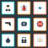 Icone piane poliziotto, esplosivo, virus ed altri elementi di vettore L'insieme dei simboli piani delle icone di sicurezza inoltr Immagine Stock