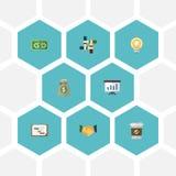 Icone piane reddito, rottura, supporto ed altri elementi di vettore Insieme delle icone piane Startup Fotografie Stock