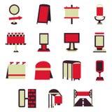 Icone piane rosse delle costruzioni di pubblicità Immagine Stock