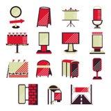 Icone piane rosse per la pubblicità all'aperto Fotografia Stock