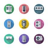 Icone piane rotonde del sistema di condizionamento d'aria illustrazione vettoriale