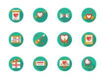 Icone piane rotonde di adulazione di amore di colore royalty illustrazione gratis