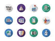 Icone piane rotonde di colore di organizzazione di partito Fotografia Stock