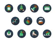 Icone piane rotonde di vacanze invernali di colore messe Fotografia Stock